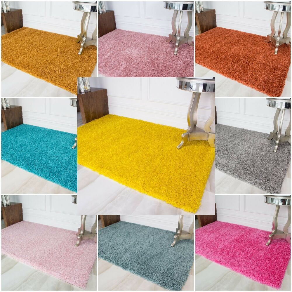 Bright colourful cosy shaggy rugs thick non shed easy