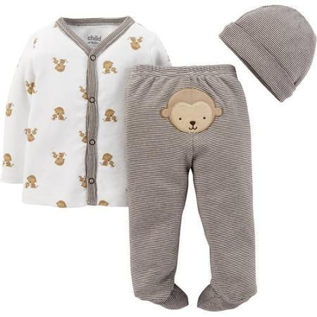 963b0e630 Child Of Mine Made By Carter's Newborn Baby Footed Pant, Cardigan And Cap  3-Piece Set
