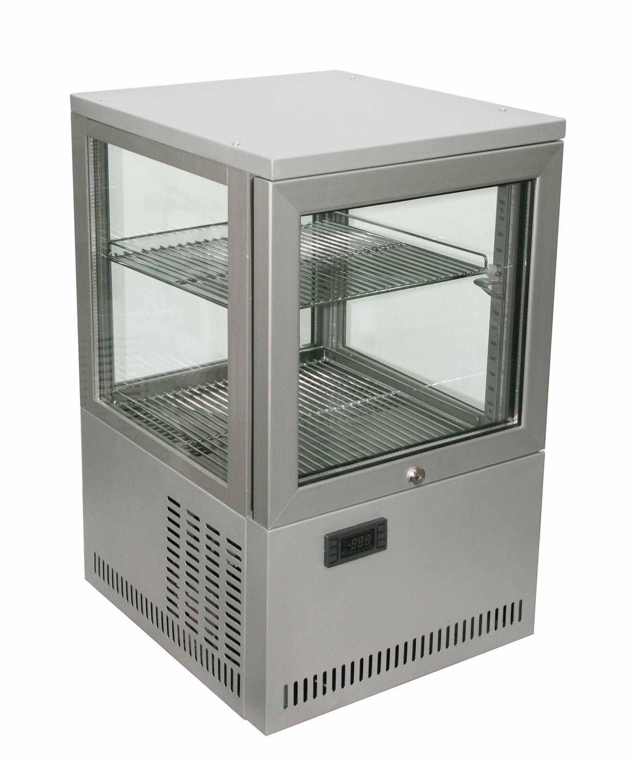 Counter Top Four Sided Glass Show Case Coolers Display Fridge