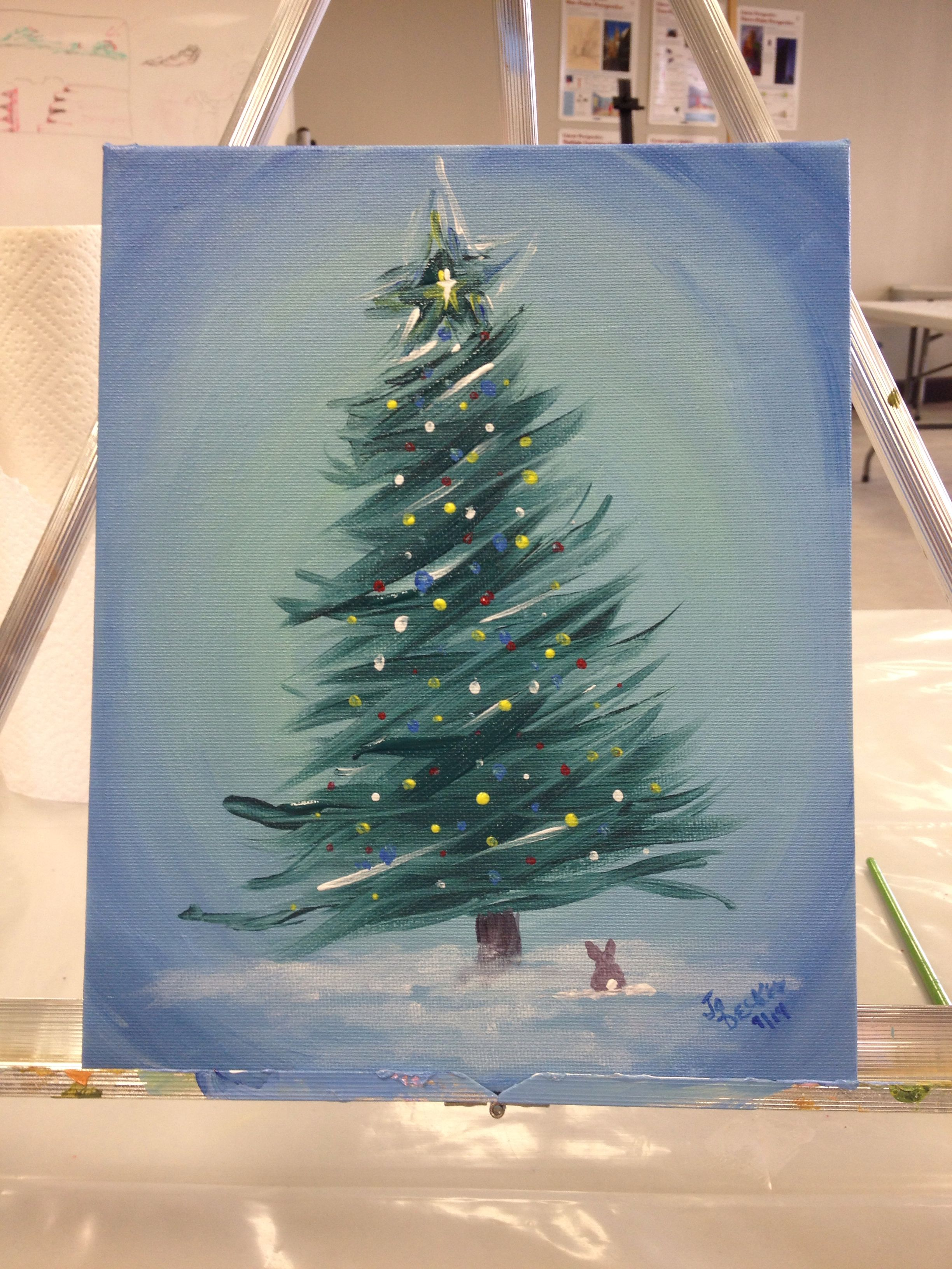 Colorful Christmas Acrylic Paintings On Canvas Tree Painting Diy