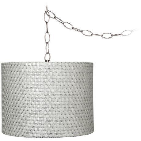 "Silver Weave 11"" Wide Brushed Steel Plug-In Chandelier -"