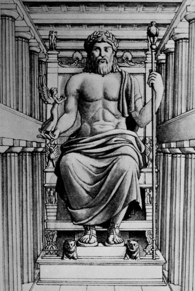 Navn: Statue of Zeus at Olympia  Materiale: Marmor. Det er en skulptur  Stilling: Siddende stilling.  Nøgenhed: Zeus er ikke nøgen, han har et klæde på, der dækker hans nedre dele. Samtidig har han også sandaler på, en engel i den ene hånd og en stav i den anden hånd  Ansigt/hår: Har skæg og normalt hår.   Datering: 430 fvt  Tolkning: Som man se på dateringen, så er statuen fra klassisk tid, hvilket man kan se på øjnene, da de ikke er mandeløjne.