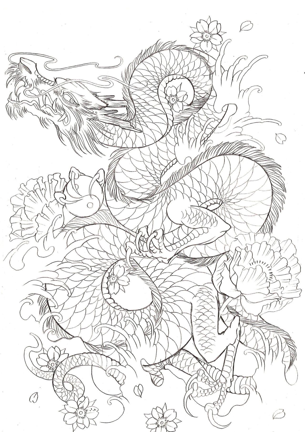 japanische drachen zum ausmalen