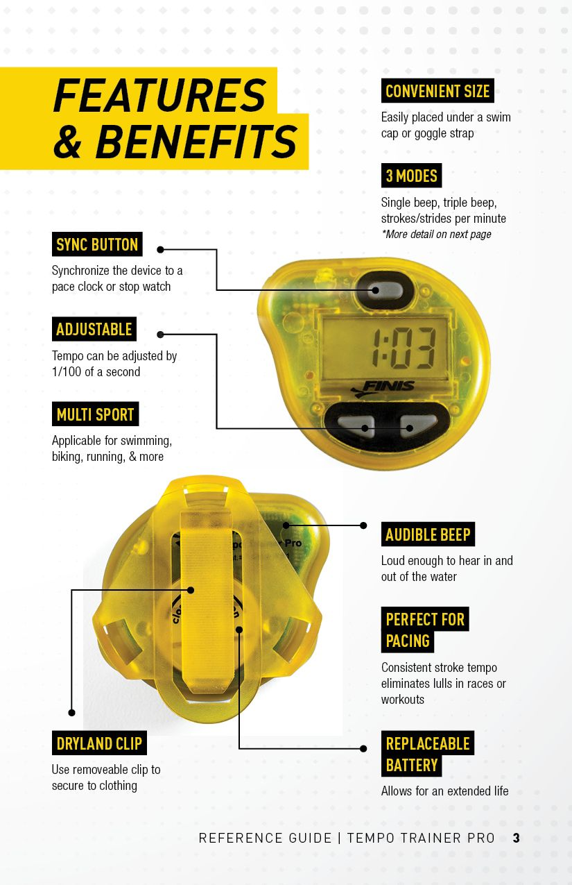 FINIS Tempo Trainer Pro Reference Guide Trainers, Swim
