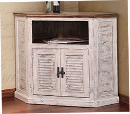 Puebla White Wash Corner Tv Stand Corner Tv Corner Tv Stand
