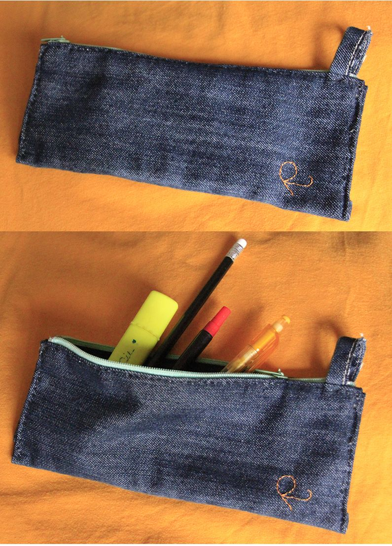 Handmade case in jeans