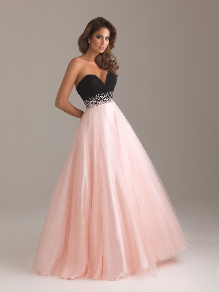 Long strapless black and pink evening dress with sweetheart neckline ...
