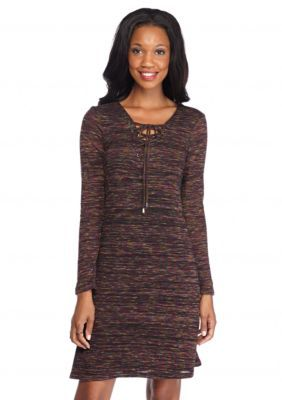 New Directions  Space Dye Lace Up Dress