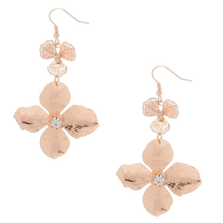 Claire S 2 5 Rose Gold Flower Drop Earrings Fashion Jewelry Fashion Accessories Jewelry Jewelry