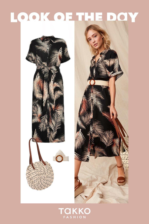Look Of The Day Unsere Muster Sommerkleider Kombiniert Mit Einer Runden Basttasche Alltagskleider Sommer Kleider Modestil