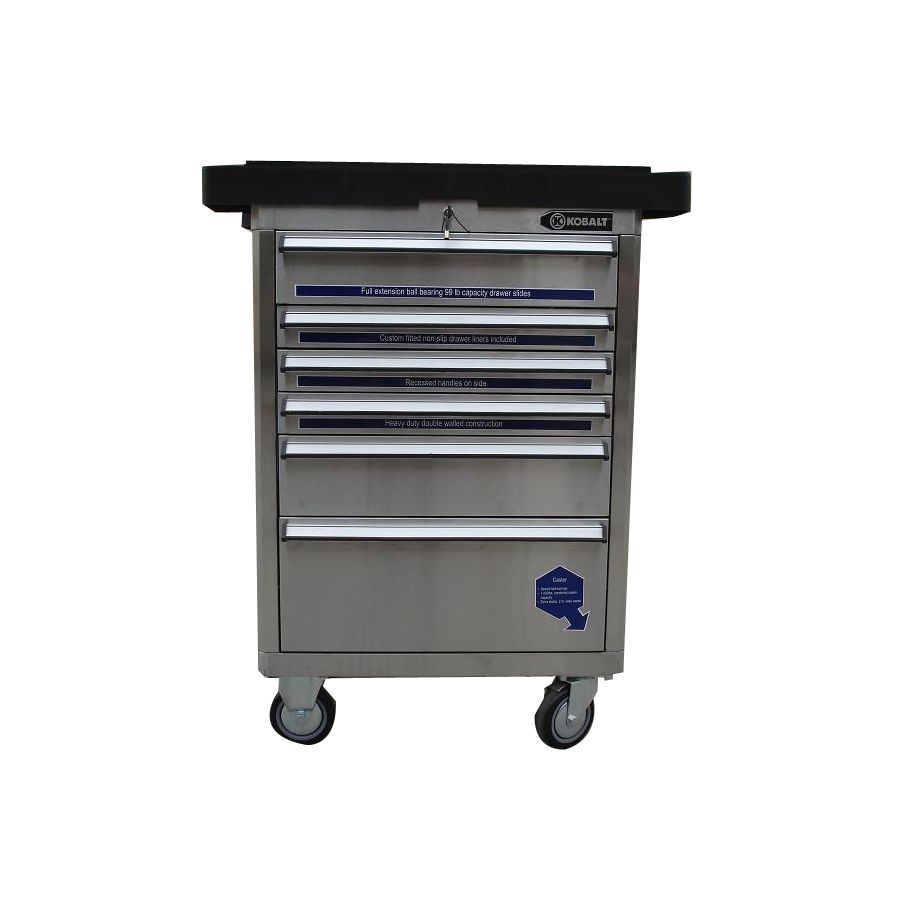 Kobalt Tool Cabinet >> Shop Kobalt 6 Drawer 27 In Stainless Steel Tool Cabinet At Lowes Com