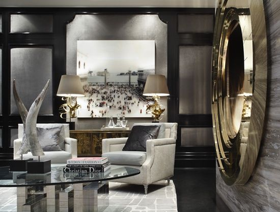 Grey Living Room With Gold Accents