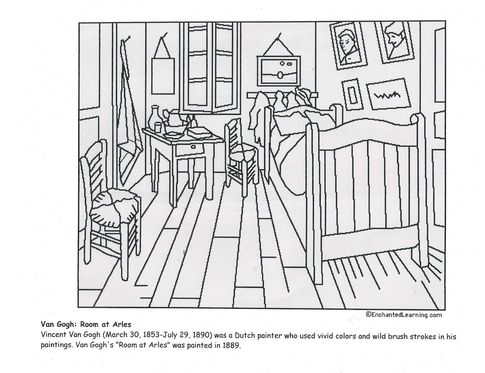 Coloring pages for bedroom - Vincent Van Gogh S Bedroom At Arles Coloring Page