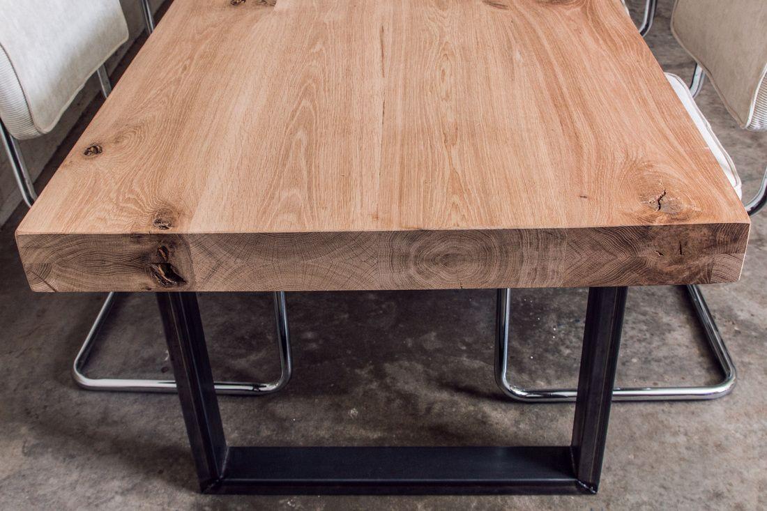 Eiken tafel met stalen u onderstel unieke tafels op maat met staal