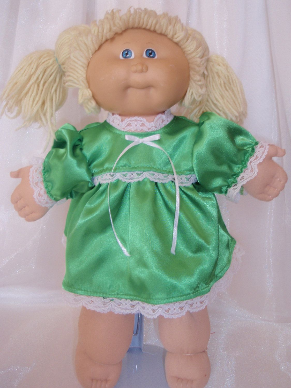 Cabbage Patch Green Satin Dress and Panties by Karensdollkreations on Etsy