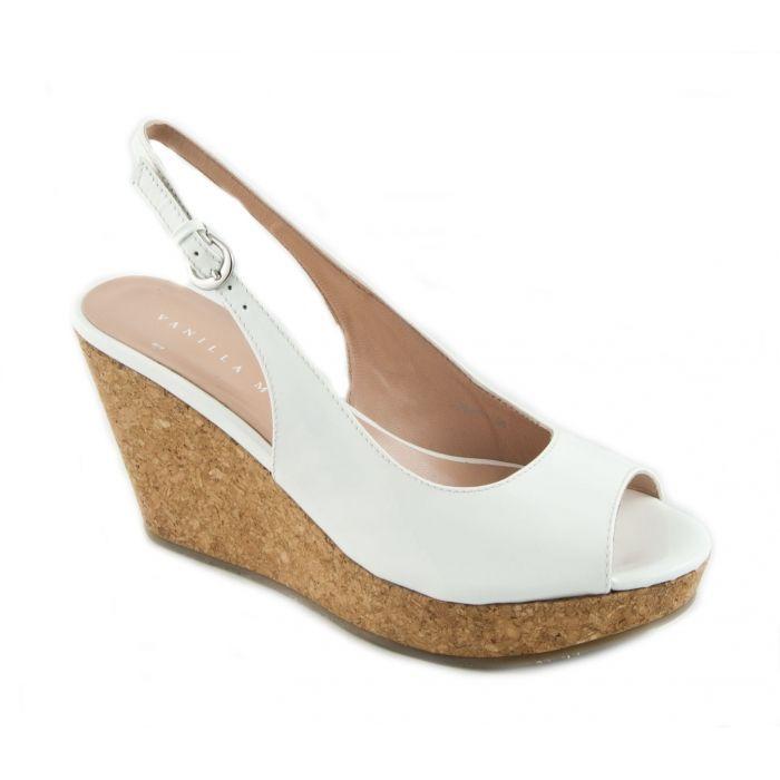 070e904fa Vanilla Moon Womens MARIE Cork Wedge Peep-Toe Sandal White £65.00 ...