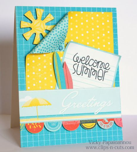 Clips-n-Cuts:  Cute summer card--video has some great ideas for chipboard and patterned paper.