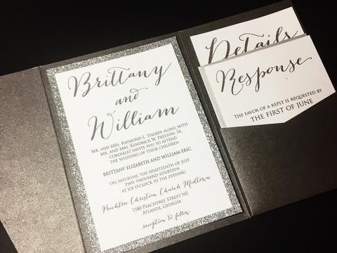 Silver Glitter Wedding Invitation, Pocketfold Wedding Invitation