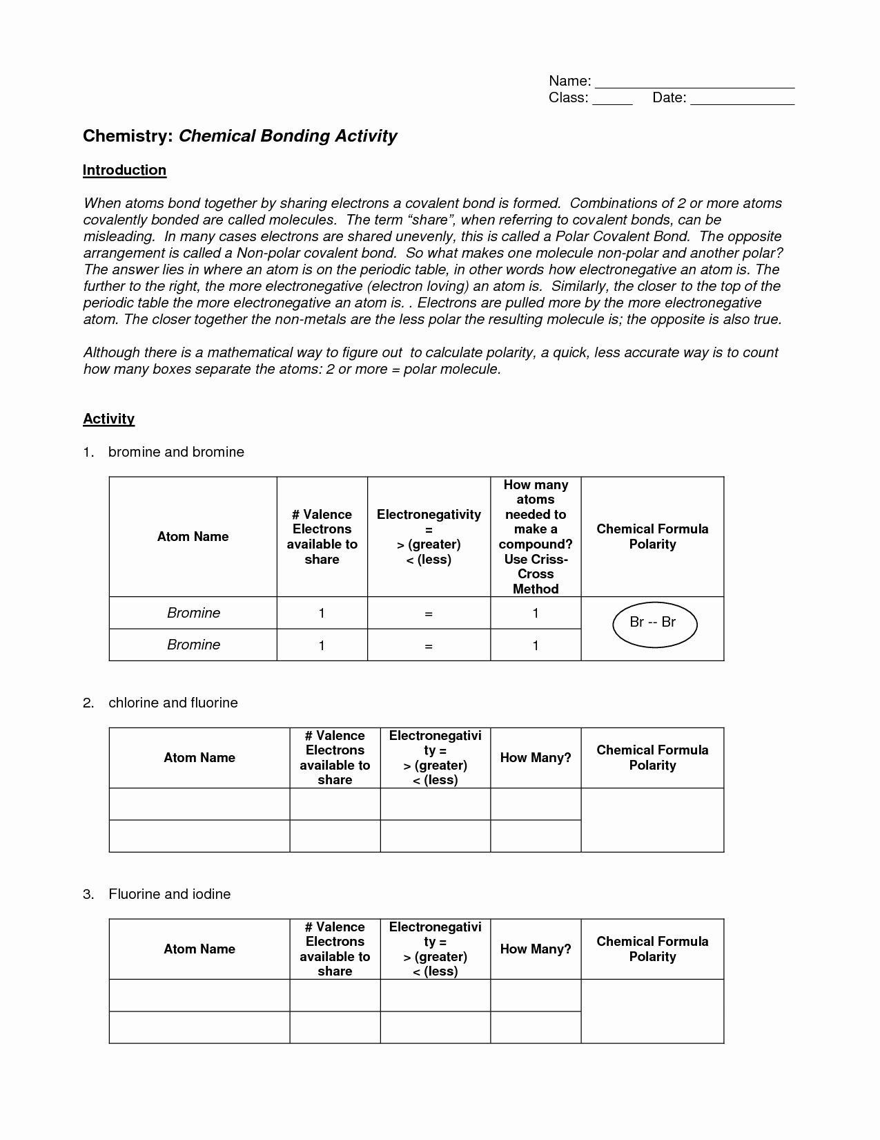 Worksheet Chemical Bonding Ionic And Covalent Answers Key