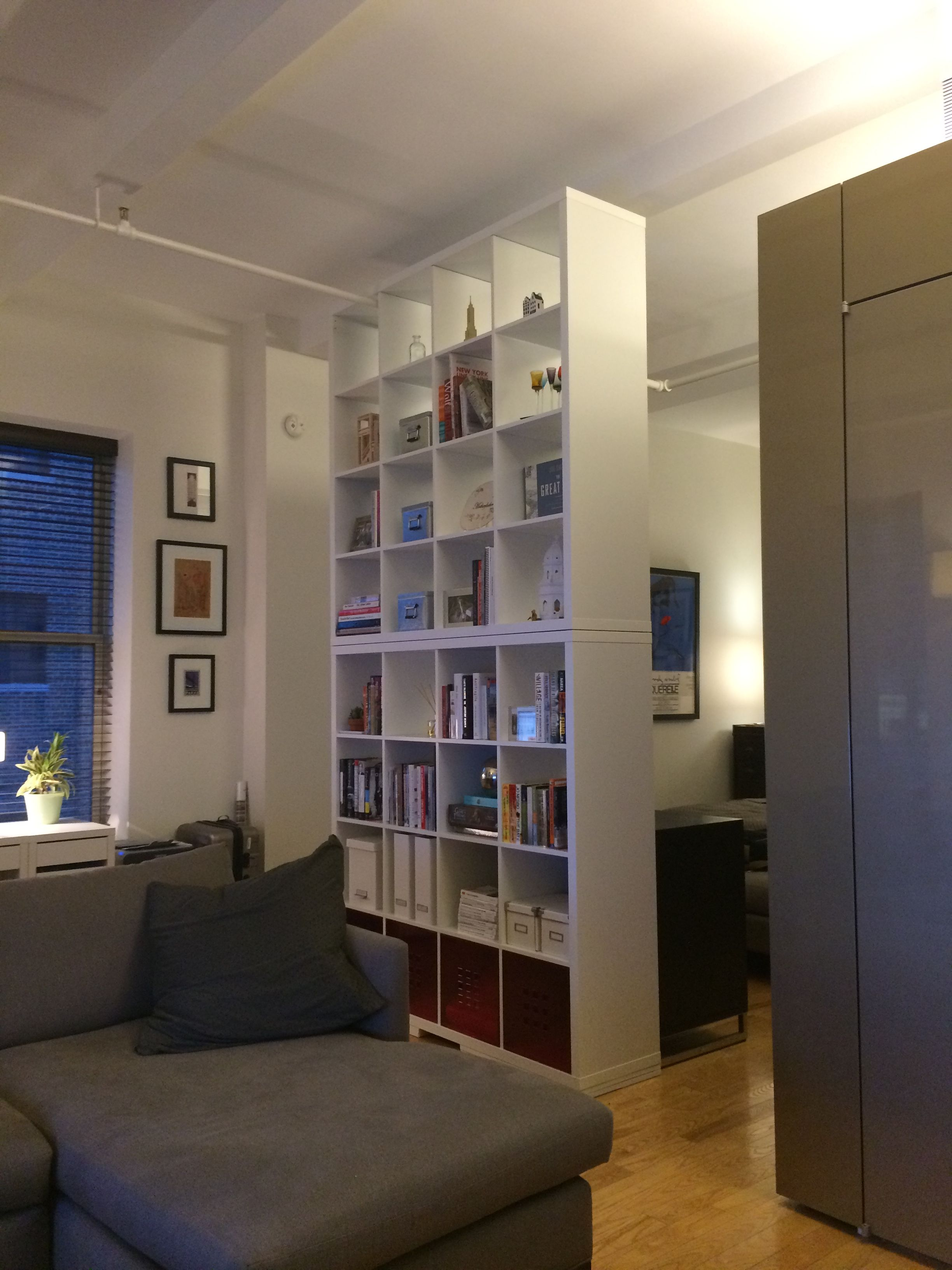 New room divider for loft - 2x IKEA Kallax shelving unit separating ...