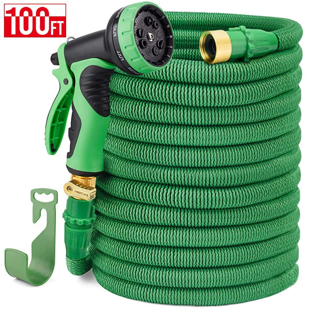 Delxo 100ft Expandable Garden Hose Water Hose With 9 Function High Pressure Spray Nozzle Black Heavy Duty Flexible Hose 3 4 Solid Garden Hose Water Hose Hose