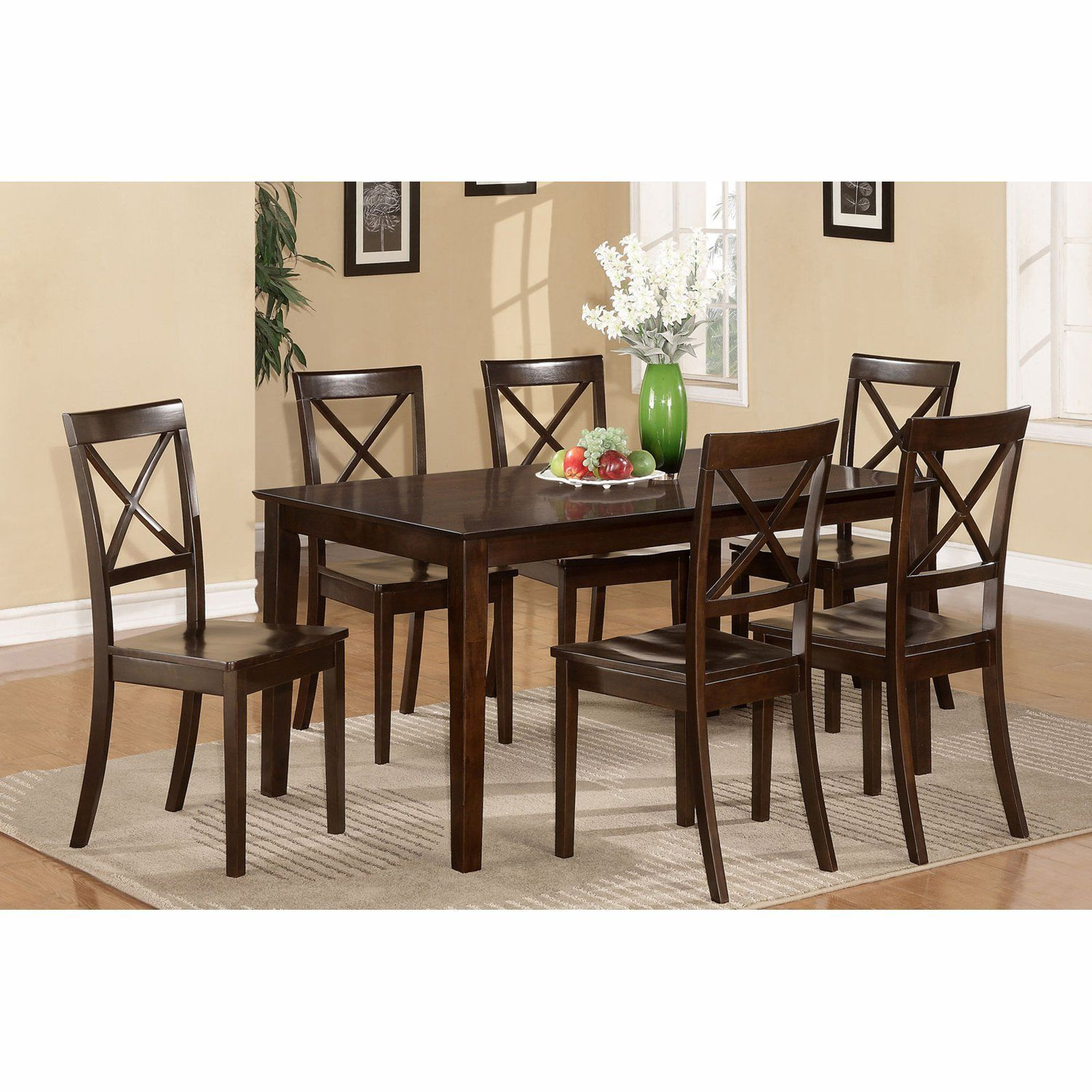 East west furniture capris piece rectangular dining table set with
