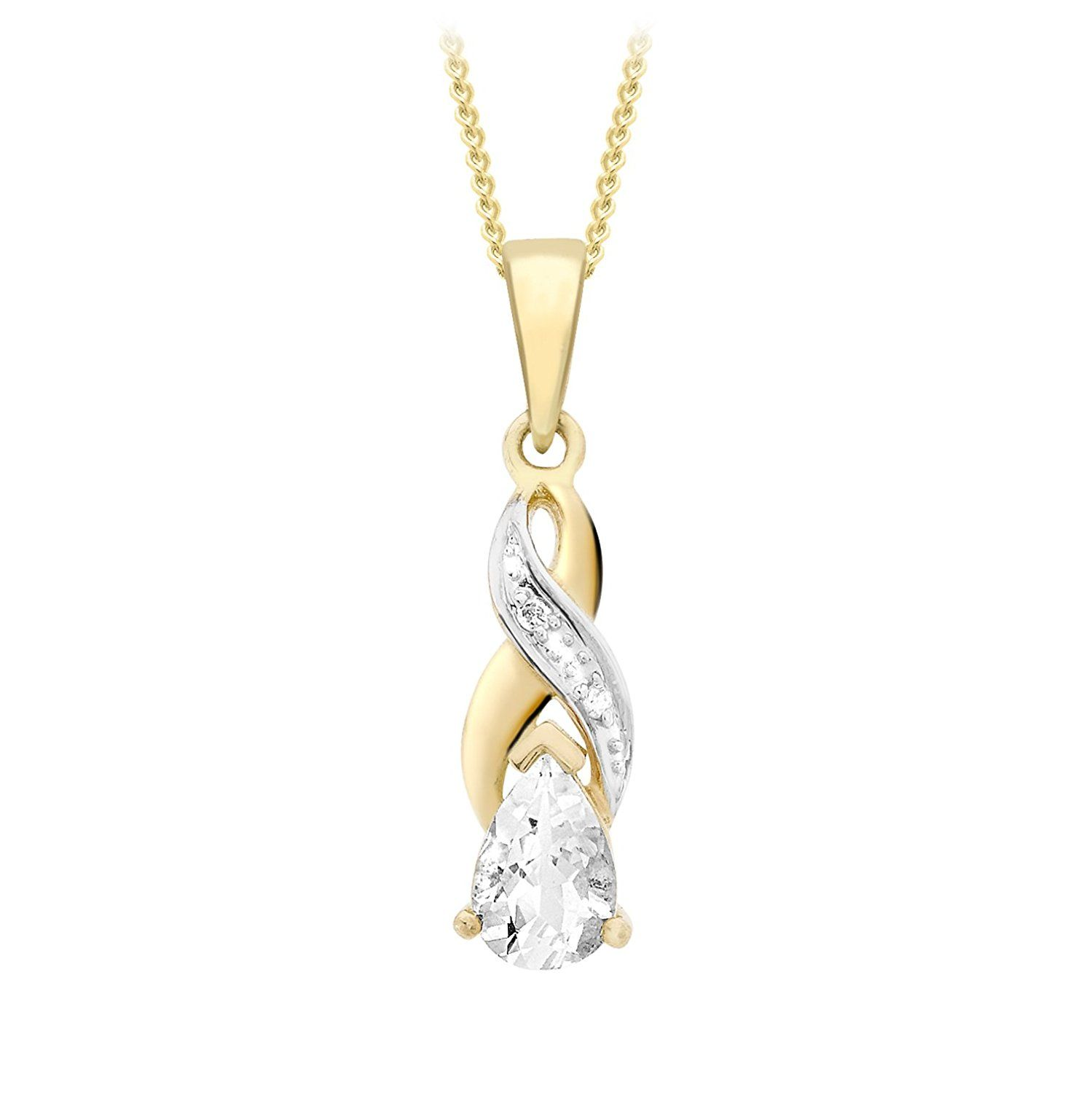 Carissima Gold 9 ct Yellow Gold Diamond Butterfly Pendant on Chain Necklace of 46 cm/18 inch
