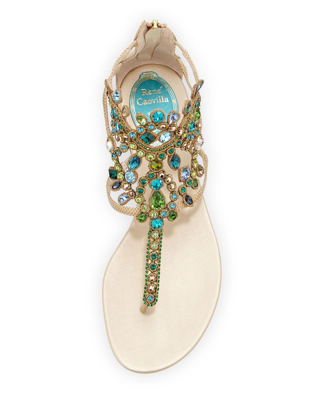 Rene Caovilla Strass Crystal Embellished Lizard Sandal