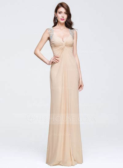 866efdd4 Sheath/Column V-neck Floor-Length Jersey Prom Dress With Beading Appliques  Lace Sequins (018081674)