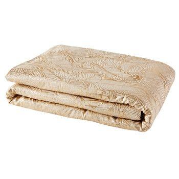 Boutis en lin beige imprimé feuillage doré 100x200 Tablewares and