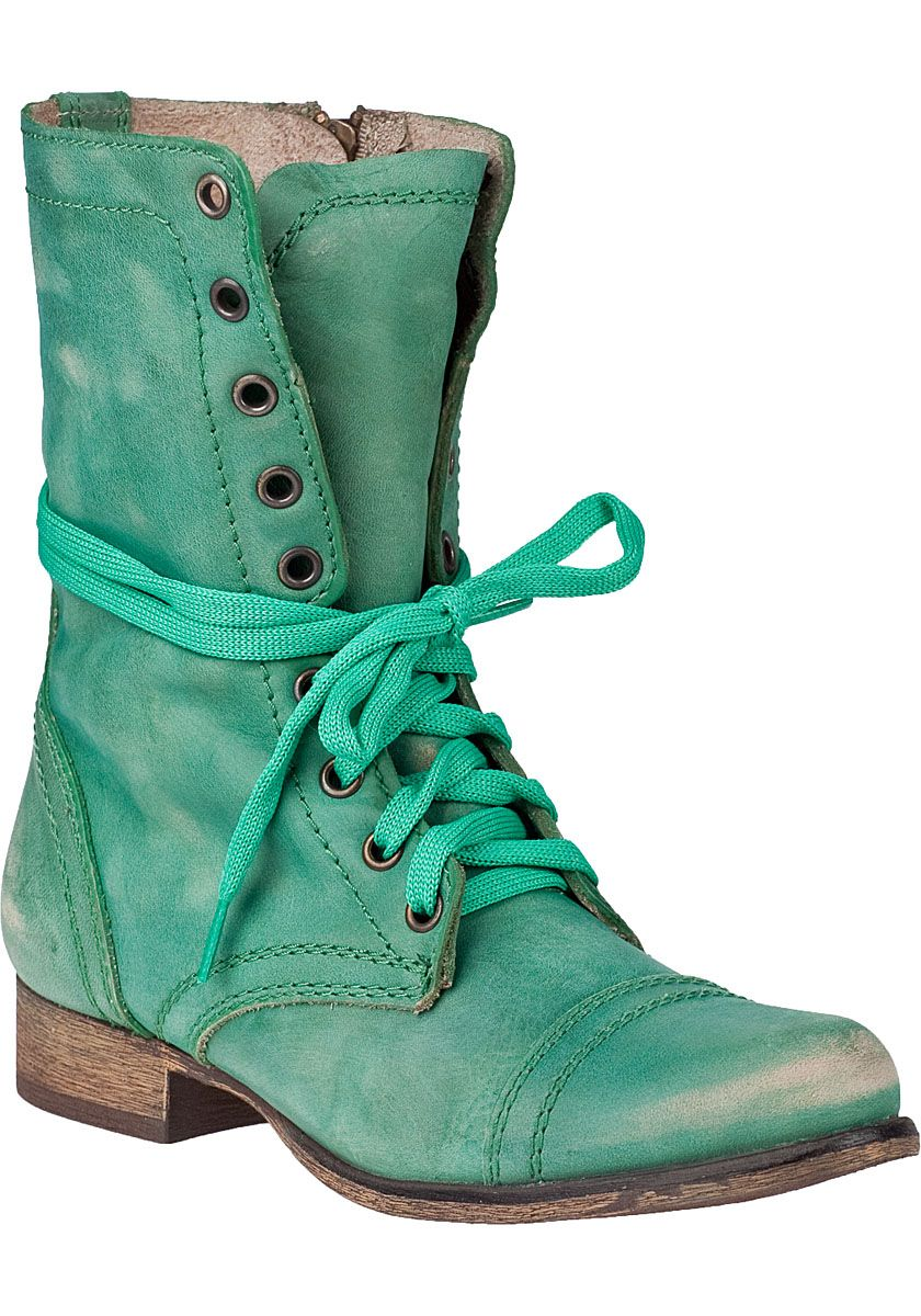 Steve Madden Shoes - Troopa Combat Boot Green Leather | Style ...