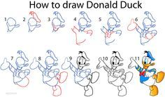 how to draw donald duck step by step drawing pinterest