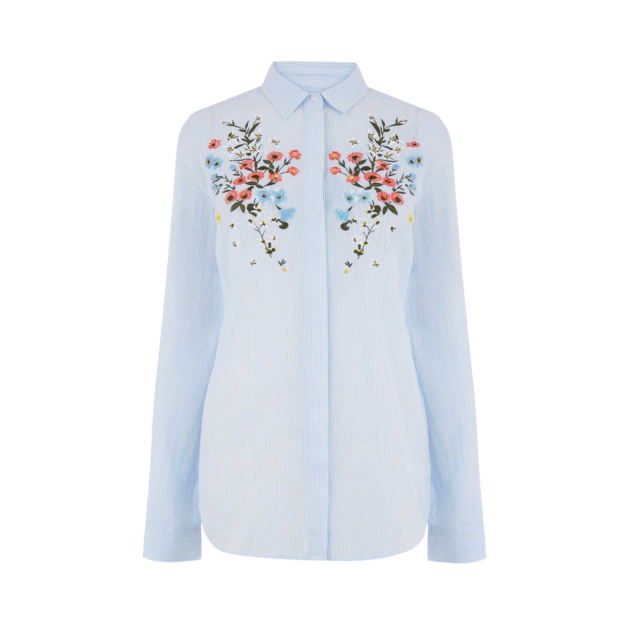 Max Studio Women's Long Sleeve Cotton Embroidered Shirt, Ivory/Red, X-Small