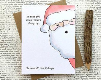 Funny Christmas Card, Funny Santa Card, Funny Holiday Card, Creepy Santa  Card,