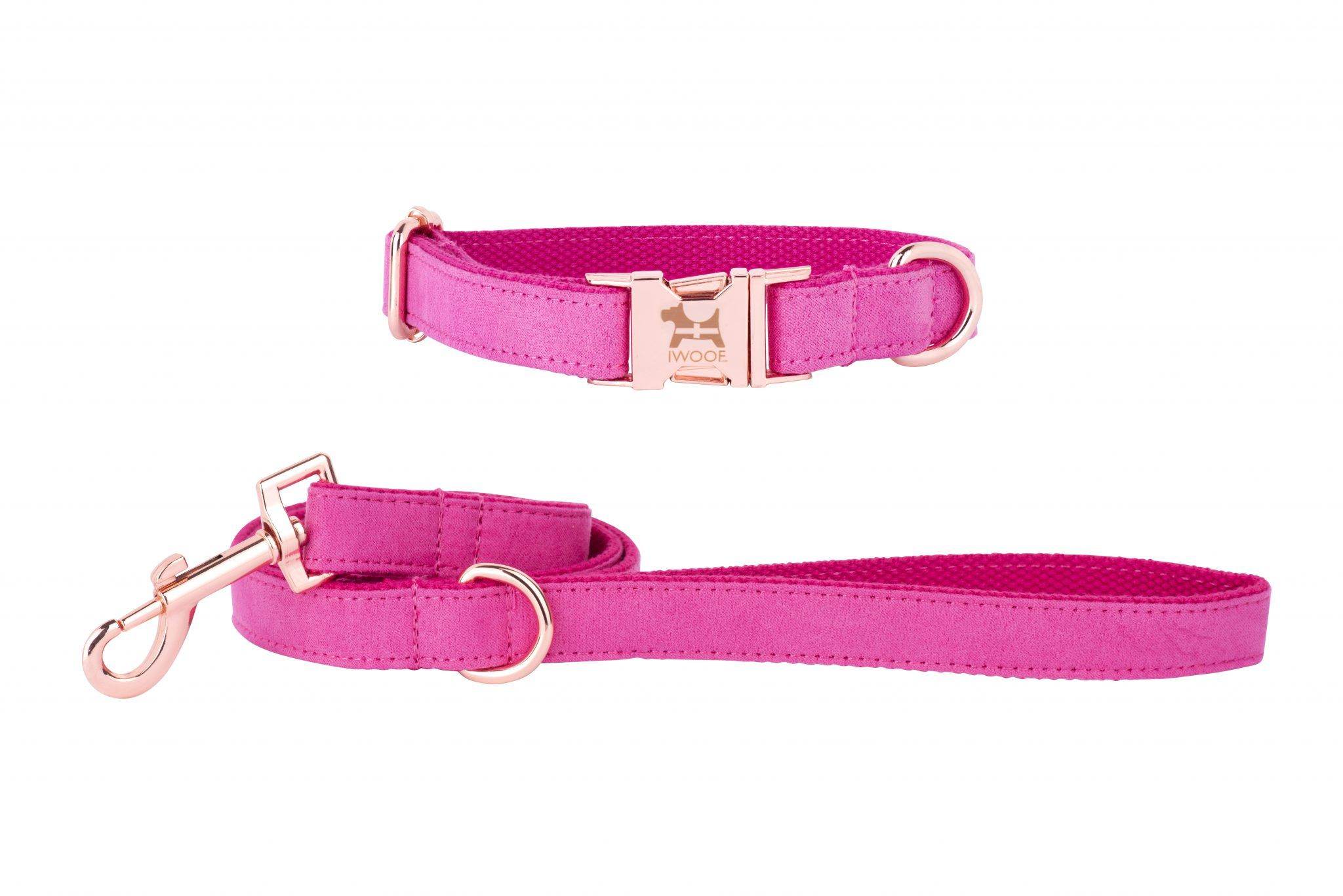 PINK CORNWALL Designer Dog Collar and Lead set in Rose