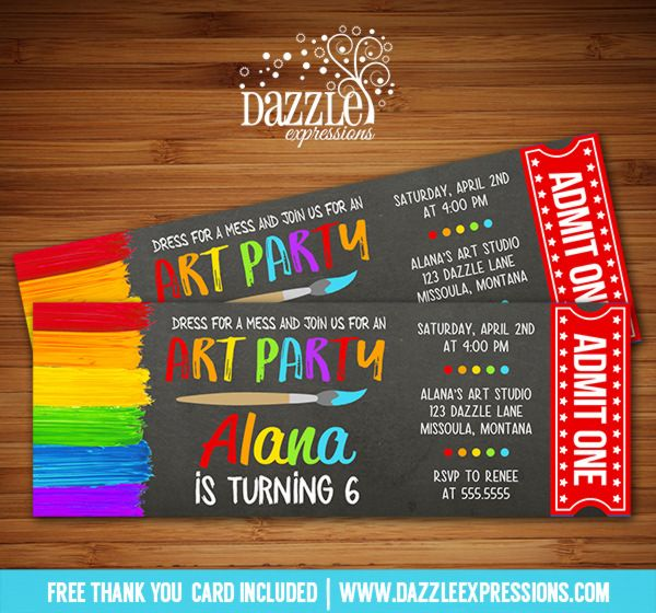 Printable Art Party Chalkboard Ticket Birthday Invitation - free ticket invitation template