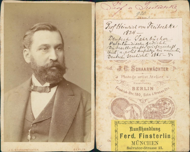 Carte De Visite Heinrich Von Treitschke Historien CDV Portraits Hommes Et Femmes Lettre