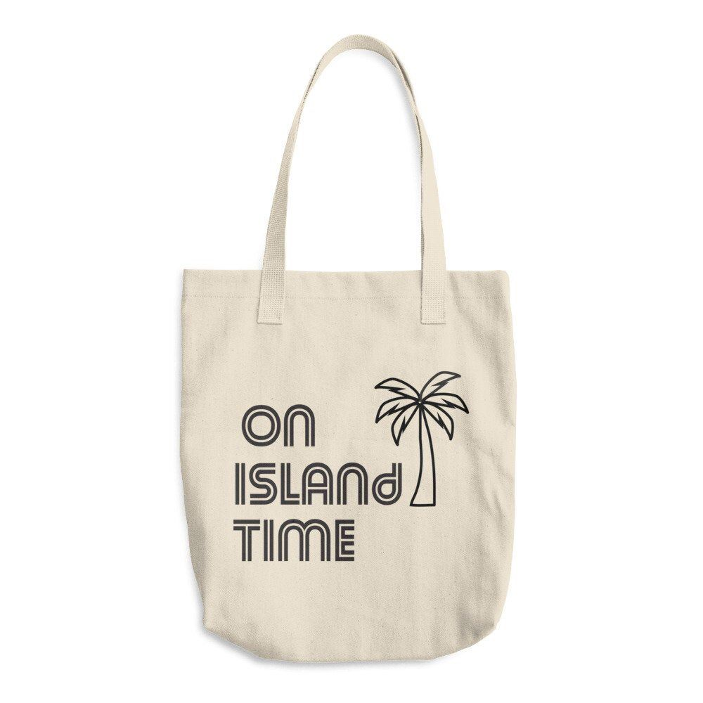 Excited to share the latest addition to my #etsy shop: On Island Time Cotton Tote Bag, Resusable Tote Bag, Made in the USA #bagsandpurses #onislandtime #totebag #reusablebag #earthfriendly #summerbag #beachtote