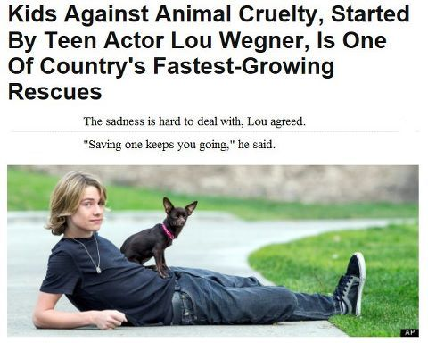 Lou Wegner A 16 Year Old Actor And Singer From Columbus Ohio Started Kids Against Animal Cruelty When He Was 14 The Organ Dog Crying Animal Cruelty Animals