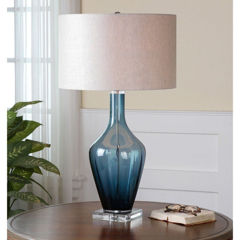 Uttermost hagano 26191 1 blue glass table lamp 26191 1