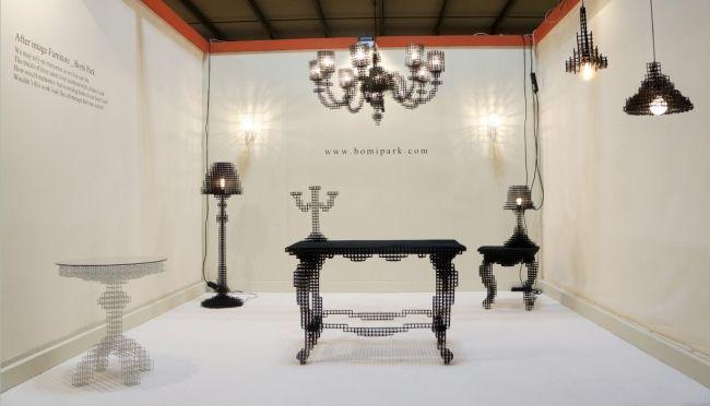 Designermöbel aus Drahtgitter schimmern wie dynamische Nachbilder - designer arbeitstisch tolle idee platz sparen