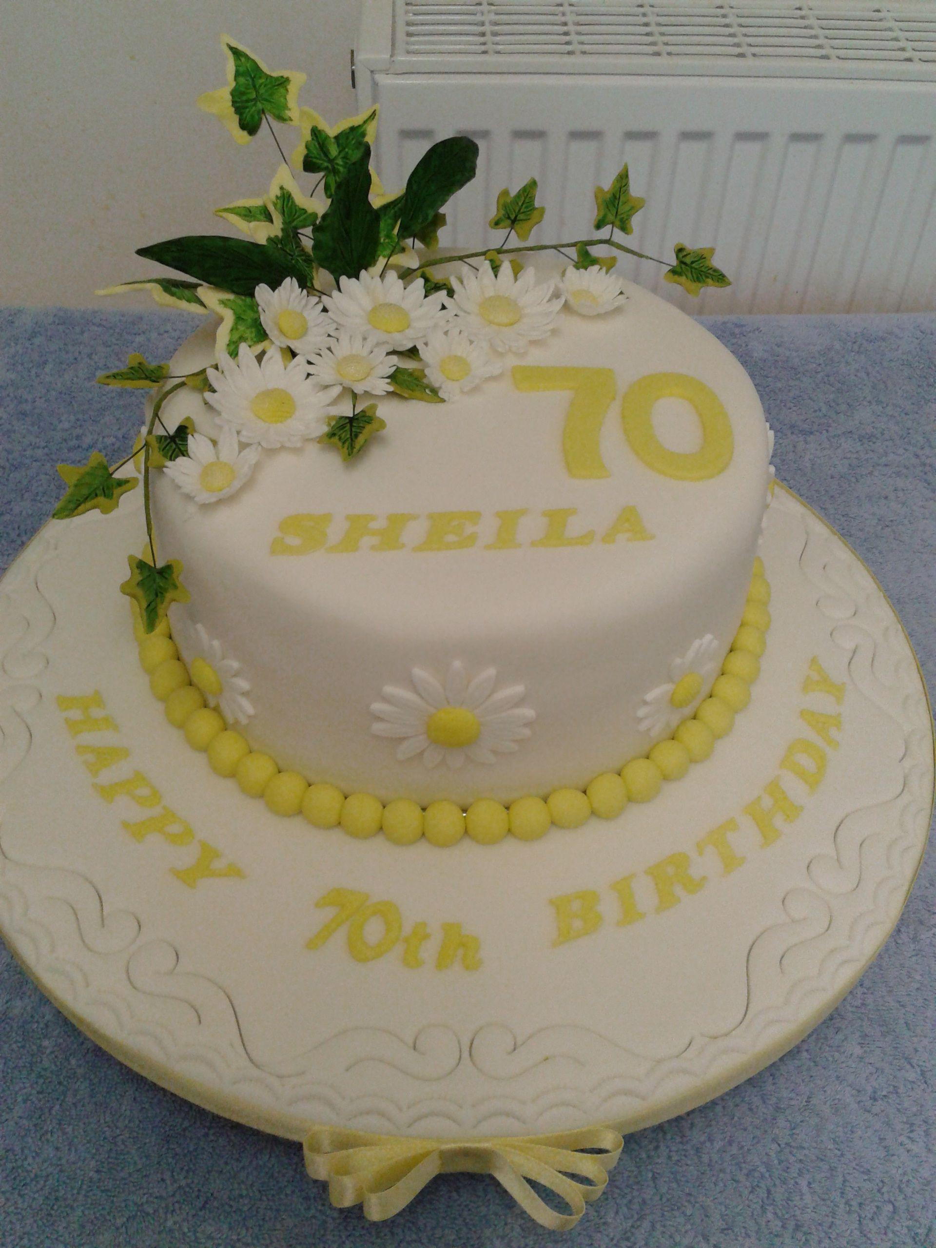 70th birthday cakemom likes yellow Moms 70th Pinterest