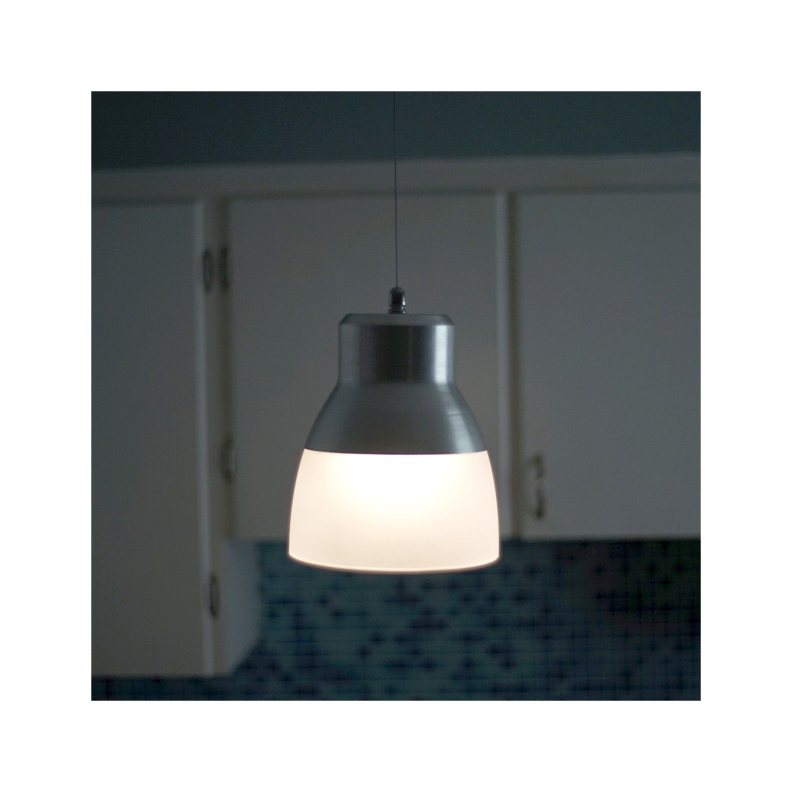 Battery Operated Nickel Glass Pendant Light With Remote With