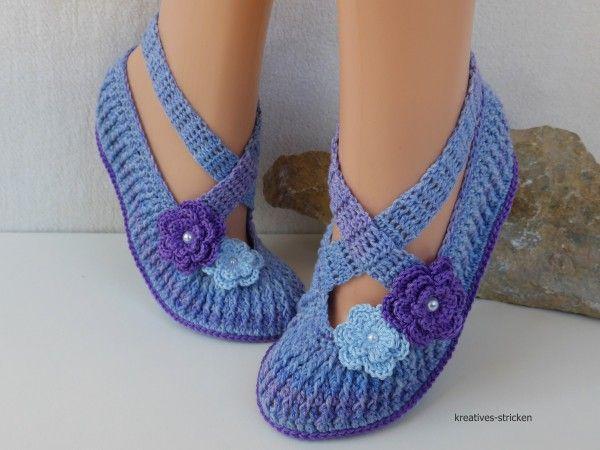 Ballerinas häkeln / Ballerinas für den Sommer | crochet 2-slippers& ...