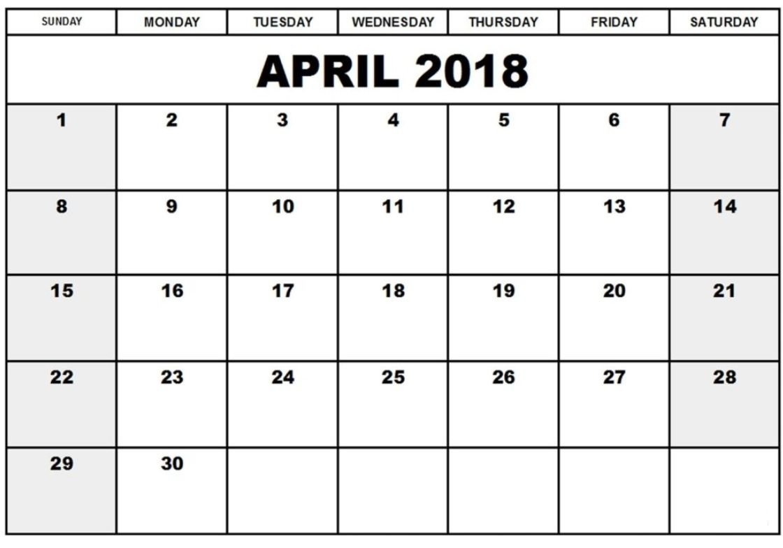 Editable April 2018 Calendar Planner Monthly Calendar Template