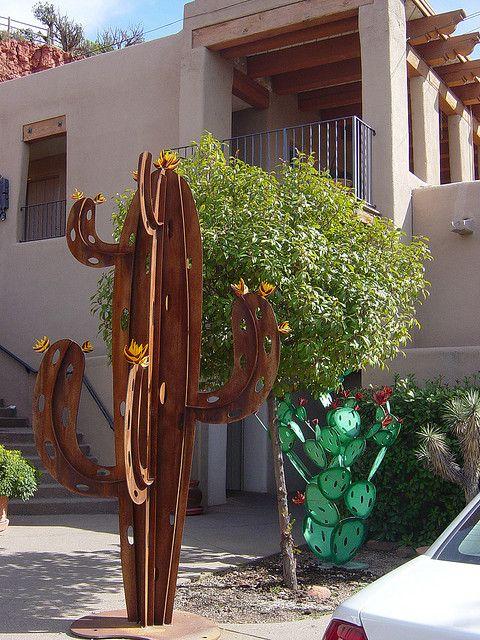 cactus sculpture in Sedona | Metal art, Garden art, Scrap ...