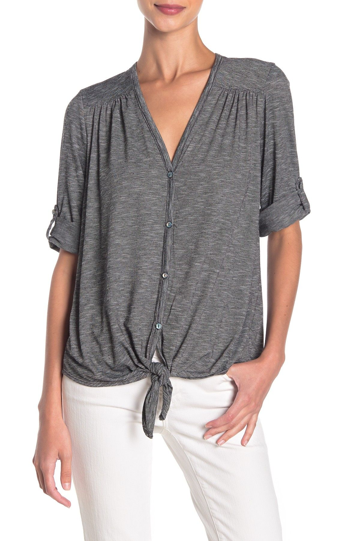 Max Studio | Front Button Roll Sleeve Knit Top #nordstromrack