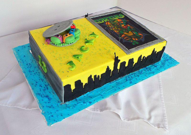 Ninja Turtles sheet birthday cake | Cake, Ninja turtle ...
