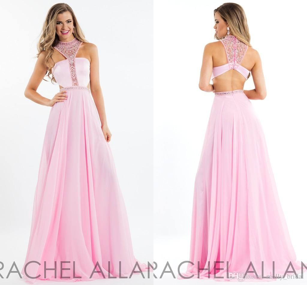 2017 charming blush pink prom dresses long rachel allan style high 2017 charming blush pink prom dresses long rachel allan style high neck crystal beading beads cutaway ombrellifo Image collections