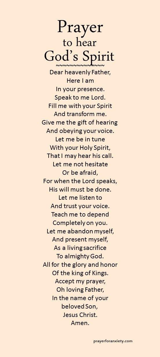 Prayer to hear God's Spirit | Prayers | Prayer quotes, Prayer verses
